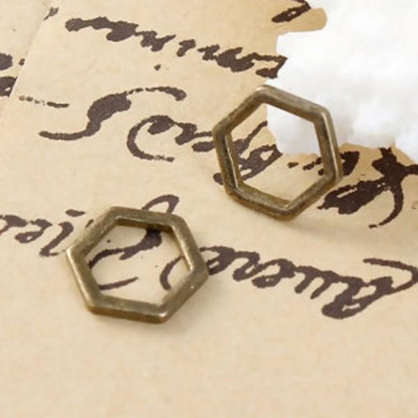 Connecteurs octogonal 10 mm bronze x 10 - Photo n°2
