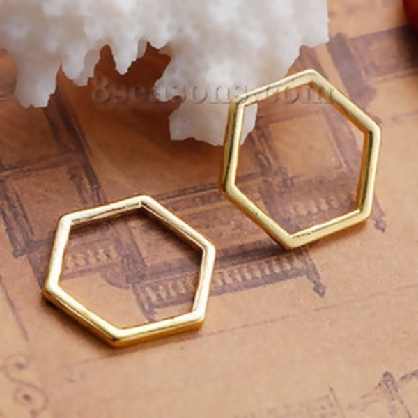 Connecteurs octogonal 17 x 15 mm doré x 10 - Photo n°2