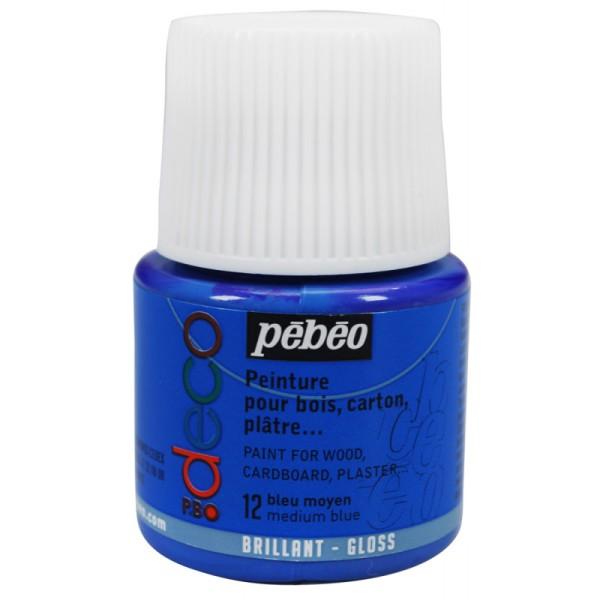 Peinture P.BO Déco - Brillant - 45 ml Bleu moyen - Photo n°1