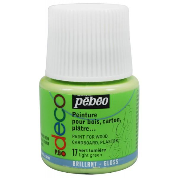 Peinture P.BO Déco - Brillant - 45 ml Vert lumière - Photo n°1
