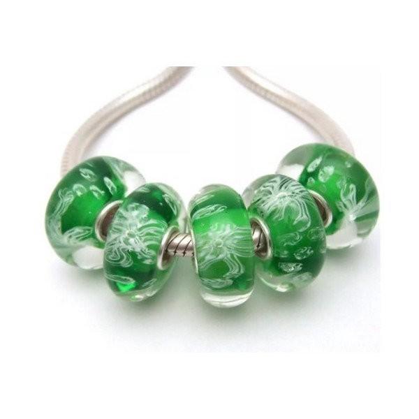 1 perle européenne verre de Murano 8 x 15 mm argent FLEUR FOND VERT - Photo n°1