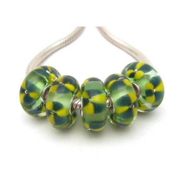 1 perle européenne verre de Murano 8 x 15 mm argent FLEUR VERT JAUNE - Photo n°1