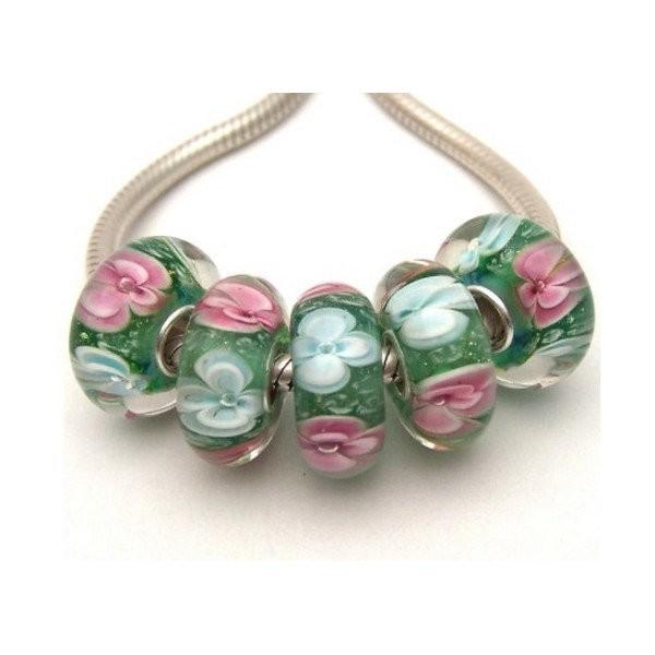1 perle européenne verre de Murano 8 x 15 mm argent FLEUR ROSE BLANCHE - Photo n°1