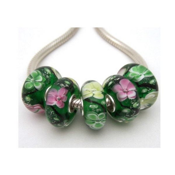 1 perle européenne verre de Murano 8 x 15 mm argent FLEUR FOND VERT 2 - Photo n°1