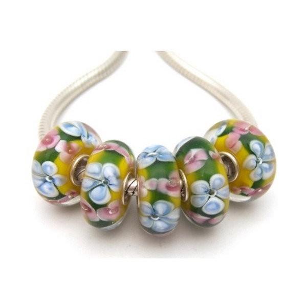 1 perle européenne verre de Murano 8 x 15 mm argent FLEUR BLEU ROSE - Photo n°1