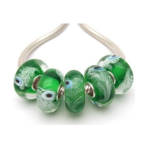 1 perle européenne verre de Murano 8 x 15 mm argent PAON - Photo n°1