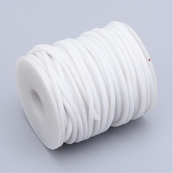 Cordon buna creux caoutchouc 2 mm blanc x 1 m - Photo n°1