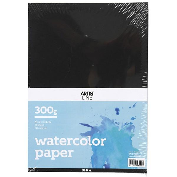 Papier aquarelle noir A4 - 300 g - 10 feuilles - Photo n°1