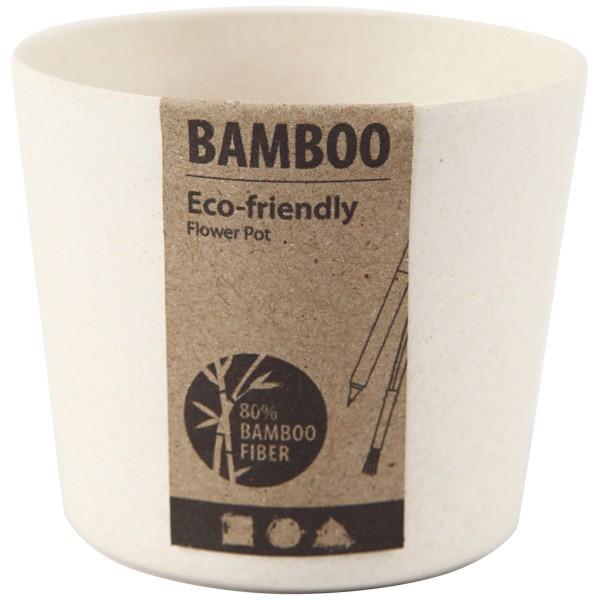 Pot de fleurs en bambou à décorer - 7 x 6,5 cm - Photo n°2