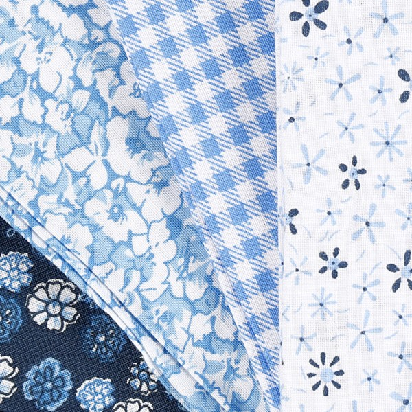 Assortiment de tissu patchwork - 45 x 55 cm - Bleu - 4 pcs - Photo n°3