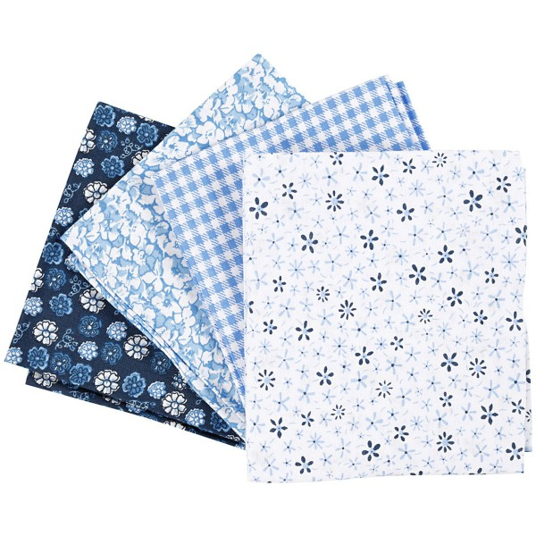 Assortiment de tissu patchwork - 45 x 55 cm - Bleu - 4 pcs - Photo n°1