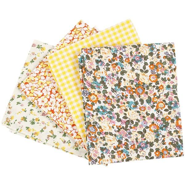 Assortiment de tissu patchwork - 45 x 55 cm - Jaune - 4 pcs - Photo n°1