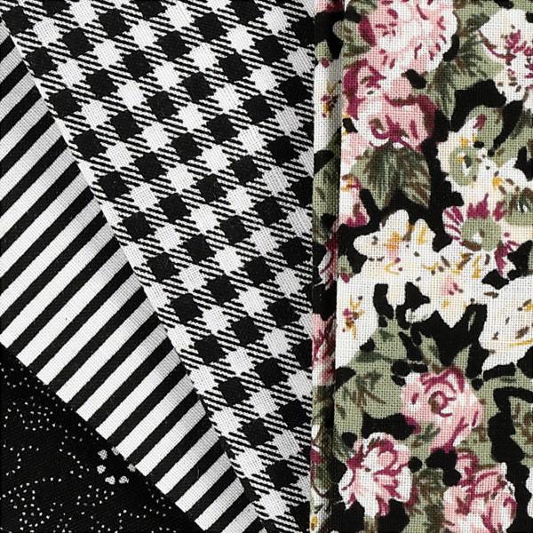 Assortiment de tissu patchwork - 45 x 55 cm - Noir - 4 pcs - Photo n°3