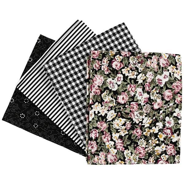 Assortiment de tissu patchwork - 45 x 55 cm - Noir - 4 pcs - Photo n°1