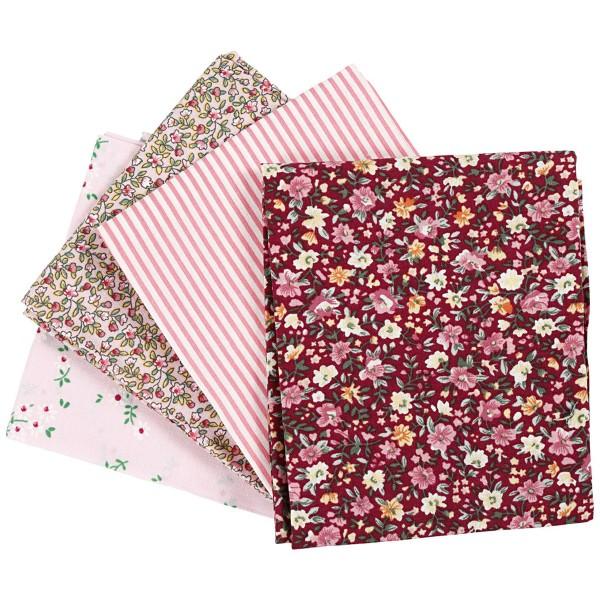 Assortiment de tissu patchwork - 45 x 55 cm - Rose - 4 pcs - Photo n°1