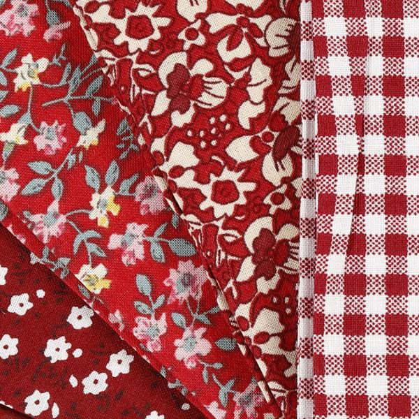 Assortiment de tissu patchwork - 45 x 55 cm - Rouge - 4 pcs - Photo n°3