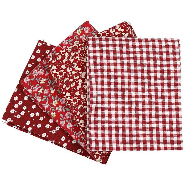 Assortiment de tissu patchwork - 45 x 55 cm - Rouge - 4 pcs - Photo n°1