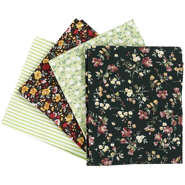 Assortiment de tissu patchwork - 45 x 55 cm - Vert - 4 pcs - Photo n°1