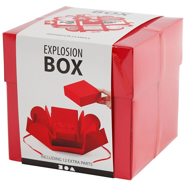 Boite à explosion - Rouge - 12 x 12 x 12 cm - Photo n°3
