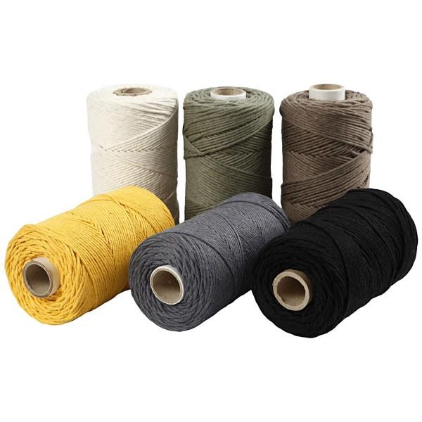 Cordes pour Macramé 2 mm - 198 m - Assortiments de couleurs - 6 pcs - Photo n°1