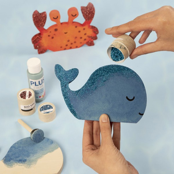 Figurines en bois à décorer - Crabe et Baleine - 2 pcs - Photo n°2
