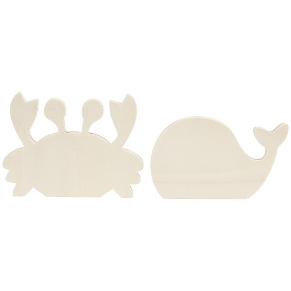 Figurines en bois à décorer - Crabe et Baleine - 2 pcs - Photo n°4