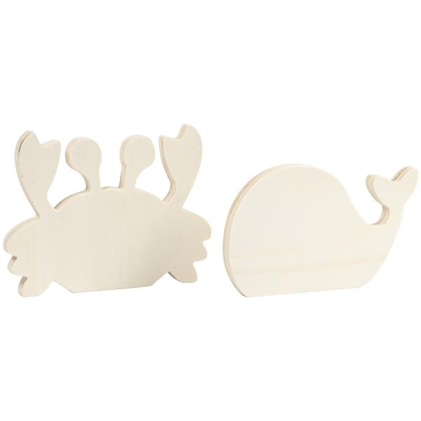 Figurines en bois à décorer - Crabe et Baleine - 2 pcs - Photo n°1