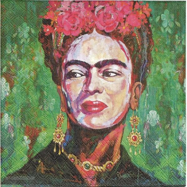 4 Serviettes en papier Frida Kahlo Autoprotrait Format Lunch Decoupage Decopatch 13315150 Ambiente - Photo n°1