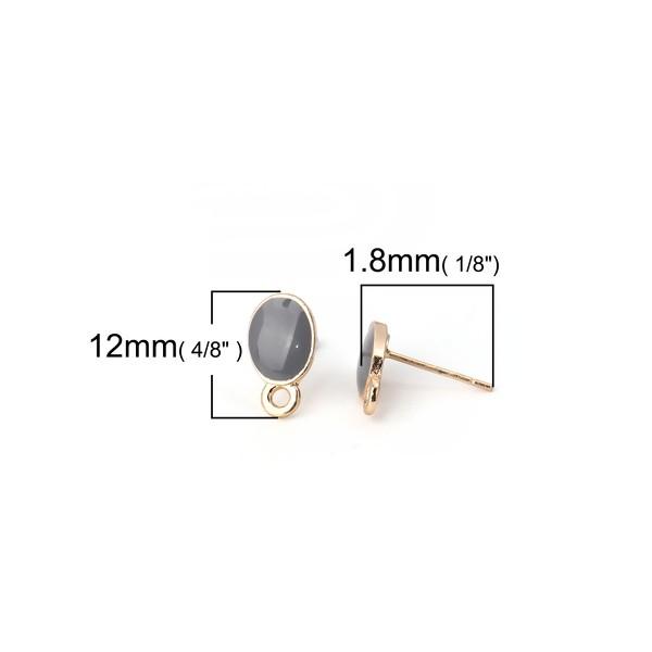 PS110111959 PAX 4 Supports de Boucle d'oreille puce Ovale style emaillé Gris sur support doré - Photo n°2