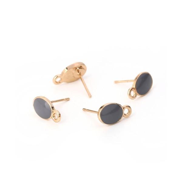 PS110111959 PAX 4 Supports de Boucle d'oreille puce Ovale style emaillé Gris sur support doré - Photo n°3