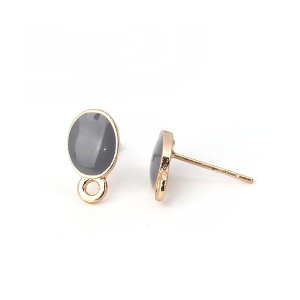 PS110111959 PAX 4 Supports de Boucle d'oreille puce Ovale style emaillé Gris sur support doré - Photo n°4