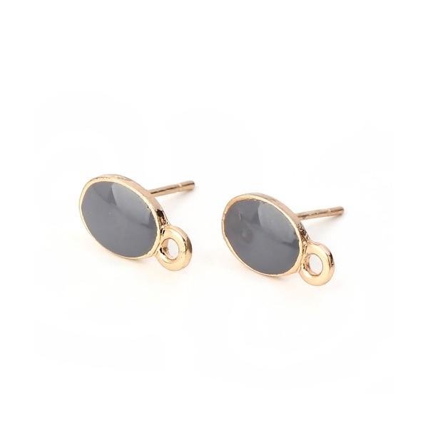 PS110111959 PAX 4 Supports de Boucle d'oreille puce Ovale style emaillé Gris sur support doré - Photo n°1
