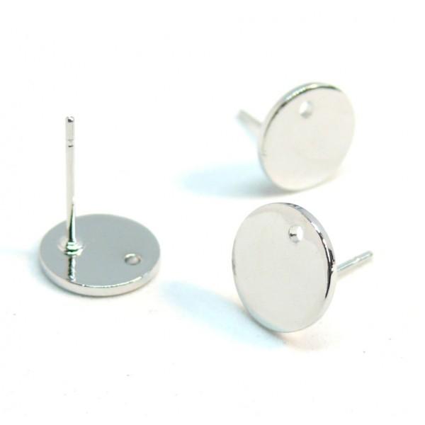 170728183010BIS PAX: 10 Boucles d'oreille puce Ronde 13 mm avec trou métal couleur Argent Platine - Photo n°1