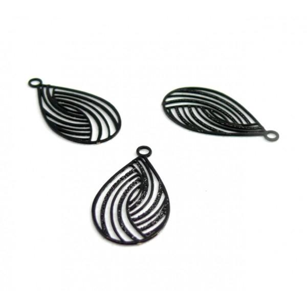 AE116867 Lot de 10 Estampes pendentif filigrane Goutte style Japonisant 10 par 18 mm Coloris Noir - Photo n°1