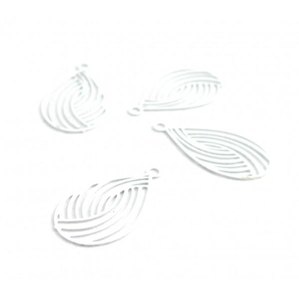 AE116867 Lot de 10 Estampes pendentif filigrane Goutte style Japonisant 10 par 18 mm Coloris Blanc - Photo n°2