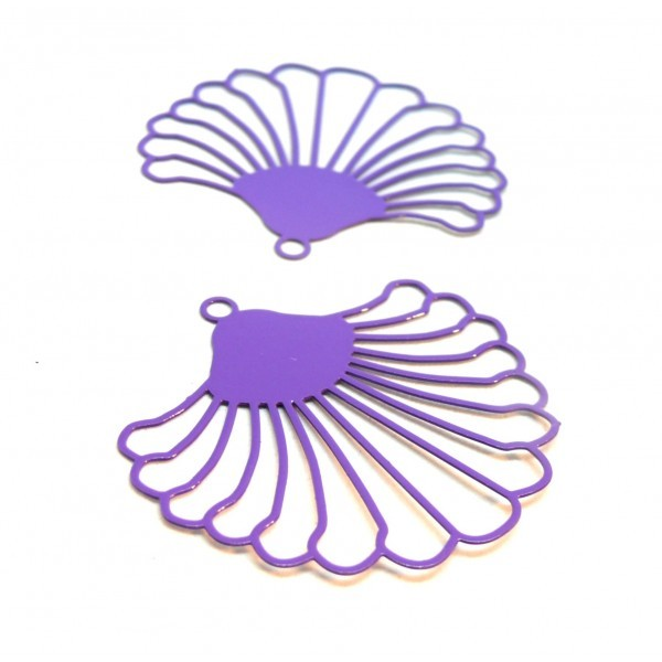 AE116867 Lot de 10 Estampes pendentif filigrane Goutte style Japonisant 10 par 18 mm Coloris Blanc - Photo n°1