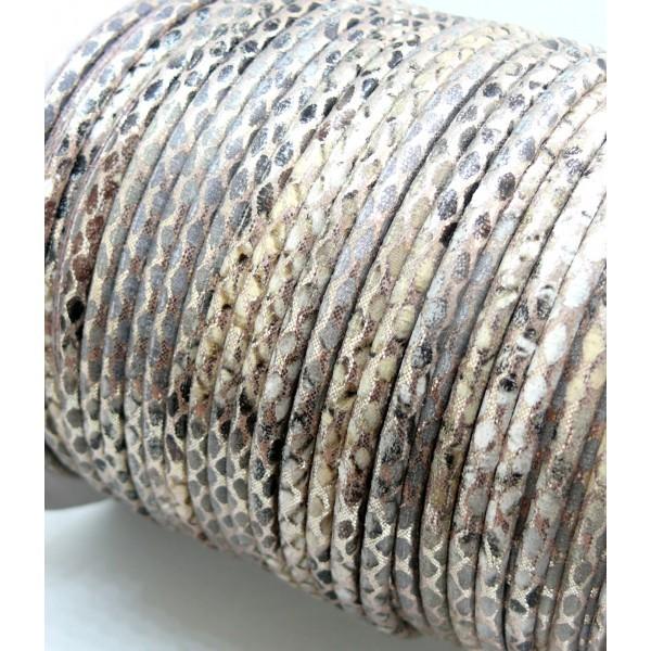 H6A306 Lot de 3 mètres cordon 3 mm Imitation simili cuir serpent Beige - Photo n°2