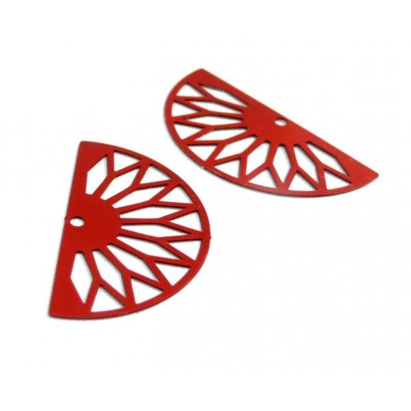 AE111362 Lot de 4 Estampes pendentif filigrane demi cercle Eventail GM 16 par 30 mm Coloris Rouge - Photo n°1