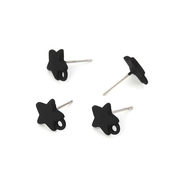 PS110116167 PAX 4 Boucles d'oreille clou puce Etoile 10 mm coloris Noir - Photo n°2