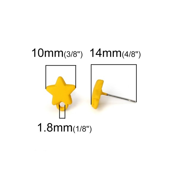 PS110116161 PAX 4 Boucles d'oreille clou puce Etoile 10 mm coloris Jaune Moutarde - Photo n°2