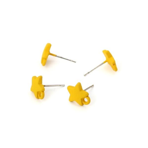PS110116161 PAX 4 Boucles d'oreille clou puce Etoile 10 mm coloris Jaune Moutarde - Photo n°3