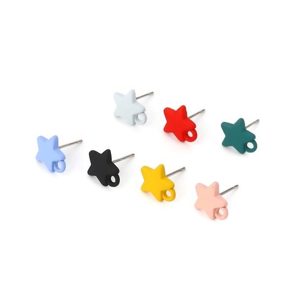 PS110116161 PAX 4 Boucles d'oreille clou puce Etoile 10 mm coloris Jaune Moutarde - Photo n°4