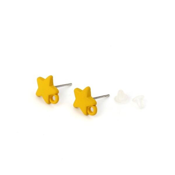 PS110116161 PAX 4 Boucles d'oreille clou puce Etoile 10 mm coloris Jaune Moutarde - Photo n°1