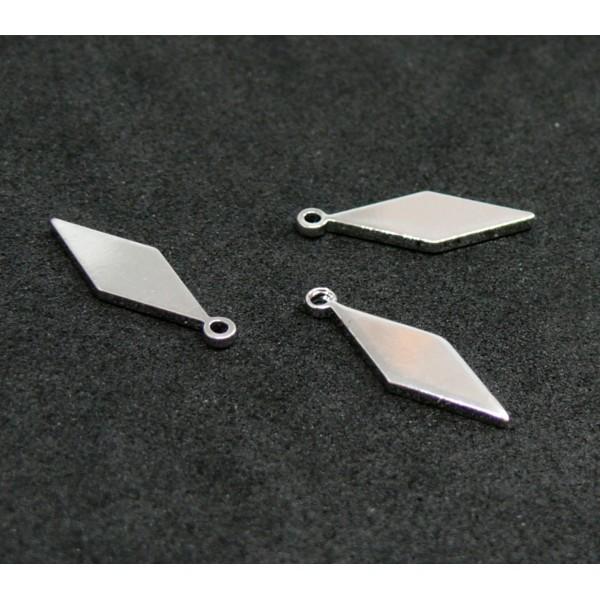 H1133191 PAX 5 pendentifs breloque LOSANGE 15 mm laiton Argent Platine - Photo n°1