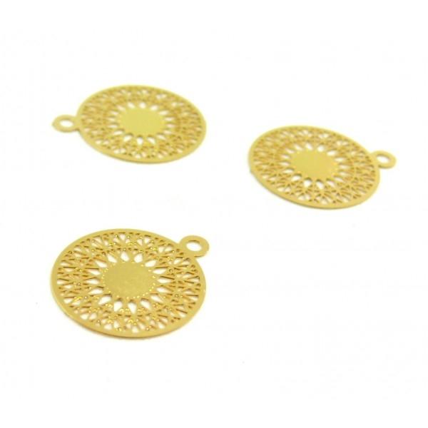 AE113739 Lot de 6 Estampes pendentif filigrane Mandala 15 par 17mm cuivre coloris Doré - Photo n°1
