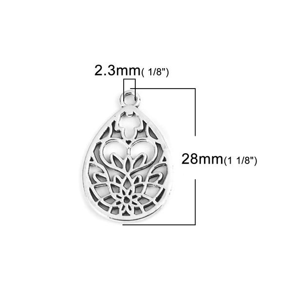 PS110213662 PAX 10 pendentifs Goutte Travaillée Fleur Zen métal couleur Argent Antique - Photo n°2