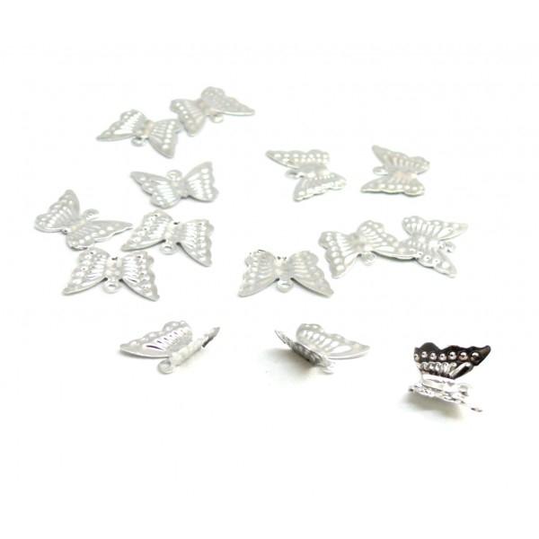 Lot de 100 breloques estampes Papillon métal coloris Argent Platine ref 1 - Photo n°1