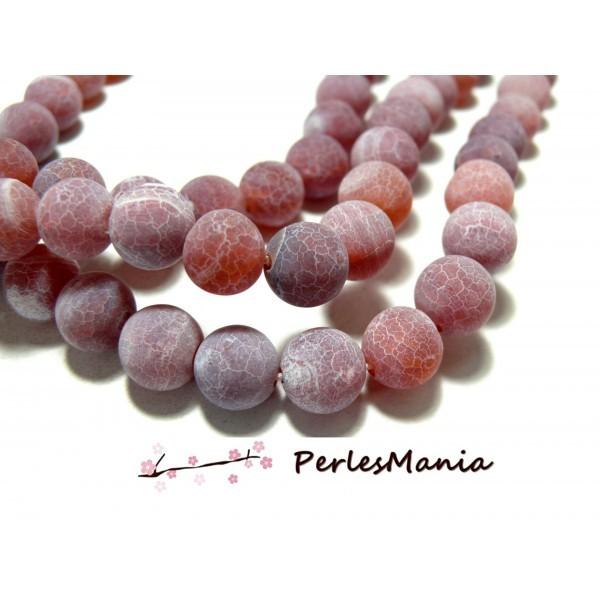 1 fil de 46 perles Agate craquelé 8mm EFFET GIVRE ROUGE ORANGE H589 couleur 5 - Photo n°1