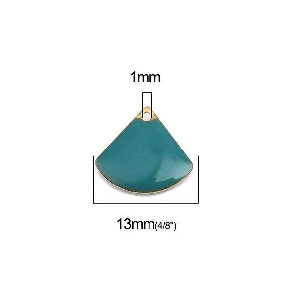 PS110238229 PAX 5 sequins médaillons émaillés Eventail 13 par 12mm Bleu Canard - Photo n°2