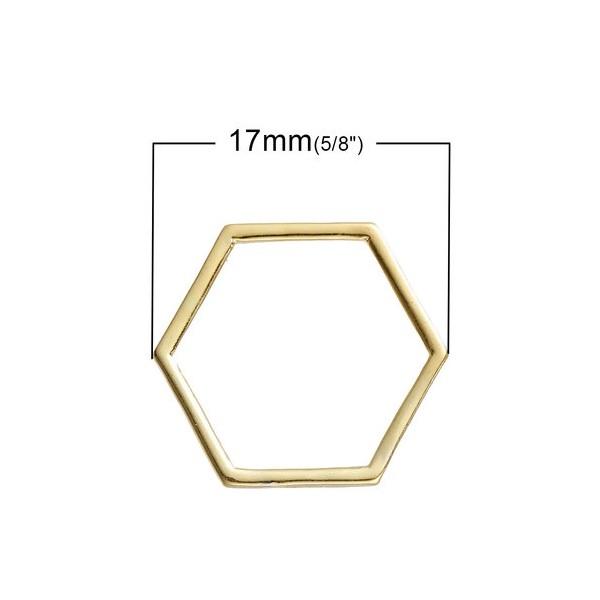 PS1181397 PAX 40 pendentifs connecteur HEXAGONE, HEXAGONALE 17 par 15mm metal couleur Doré - Photo n°2